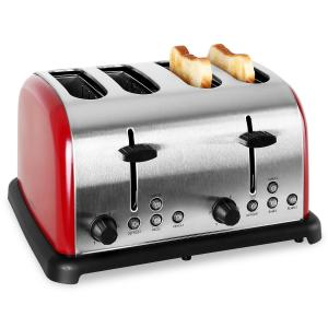 TK-BT-211-R Grille pain toaster 4 tranches 1650w inox -rouge Rouge