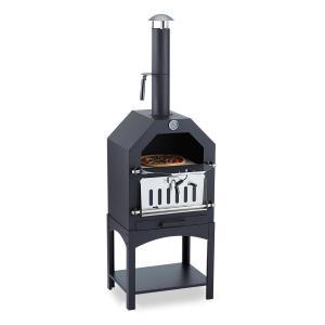 Pizzaiolo Four à bois / charbon fumoir & pierre à pizza grille acier