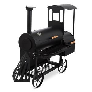 Dampflok Smoker Grill à charbon fumoir sur roues cuve acier 3mm