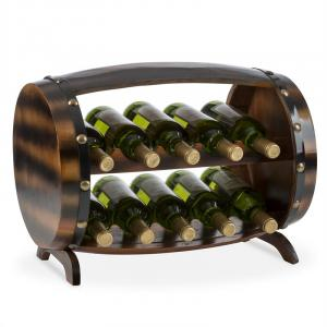 Barrica Etagère casier à vin forme tonneau pour 10 bouteilles - bois d