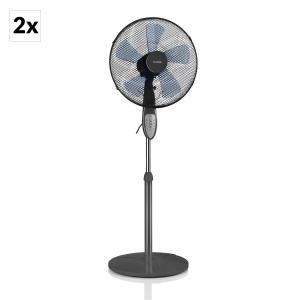 Summerjam Set de 2 ventilateurs sur pied 2 50W 3 vitesses - gris