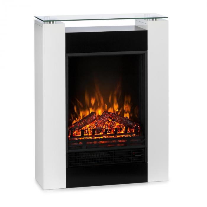 Studio 5 chemin e lectrique radiateur soufflant 900 1800 w blanc blanc klarstein - Radiateur electrique cheminee ...