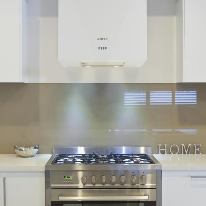 Cuboo hotte murale aspirante forme cubique 60cm 340 m h blanche blanc klarstein for Comaccessoire hotte aspirante