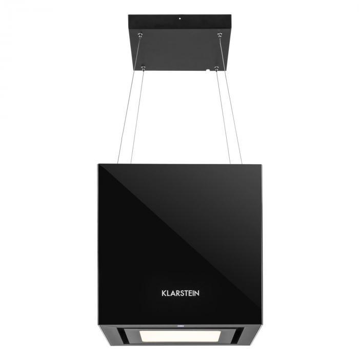 hotte aspirante lot suspension plafond led verre r fl chissant noir noir klarstein. Black Bedroom Furniture Sets. Home Design Ideas