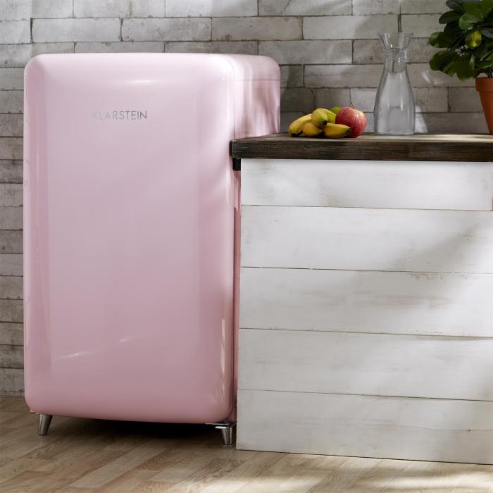 popart r frig rateur r tro a 108 l 13 l compartiment cong lateur rose rose klarstein. Black Bedroom Furniture Sets. Home Design Ideas