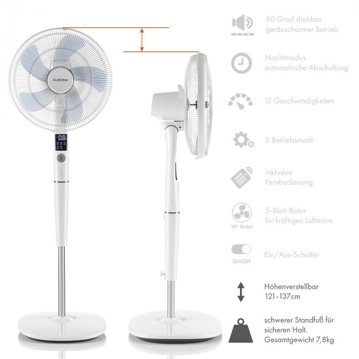 silent storm ventilateur colonne 16 41cm 5 pales 35w 80m blanc klarstein. Black Bedroom Furniture Sets. Home Design Ideas